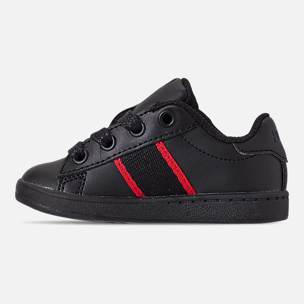 Left view of Kids' Toddler Polo Ralph Lauren Quilton Bear Casual Shoes in Black/Red