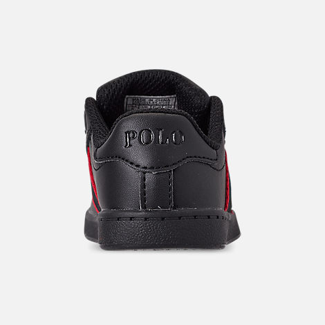 Back view of Kids' Toddler Polo Ralph Lauren Quilton Bear Casual Shoes in Black/Red