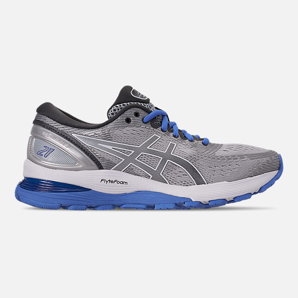 Right view of Women's Asics GEL-Nimbus 21 Running Shoes in Mid Grey/Dark Grey