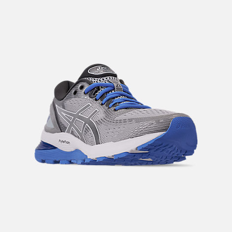 Three Quarter view of Women's Asics GEL-Nimbus 21 Running Shoes in Mid Grey/Dark Grey