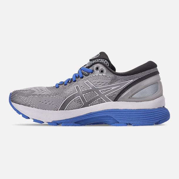 Left view of Women's Asics GEL-Nimbus 21 Running Shoes in Mid Grey/Dark Grey