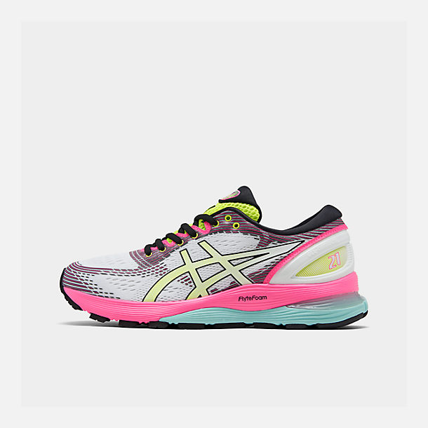 Right view of Women's Asics GEL-Nimbus 21 Optimism Running Shoes in White