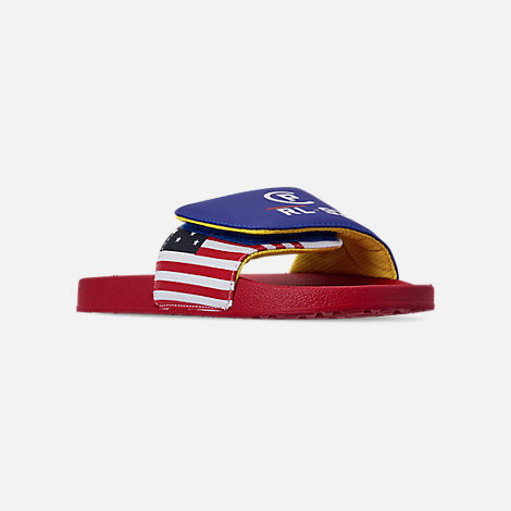 Three Quarter view of Boys' Big Kids' Polo Ralph Lauren Leary Slide Sandals in Royal/Red