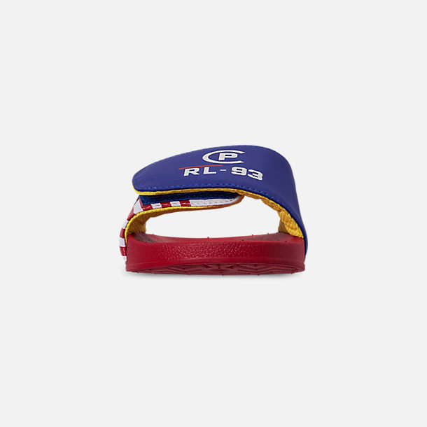 Front view of Boys' Big Kids' Polo Ralph Lauren Leary Slide Sandals in Royal/Red
