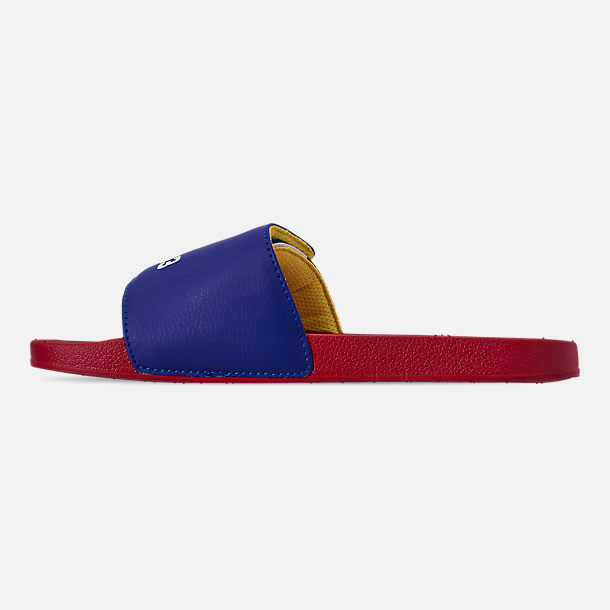 Left view of Boys' Big Kids' Polo Ralph Lauren Leary Slide Sandals in Royal/Red