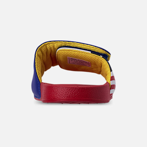 Back view of Boys' Big Kids' Polo Ralph Lauren Leary Slide Sandals in Royal/Red
