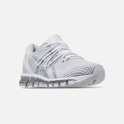 Three Quarter view of Women's Asics GEL-Quantum 360 4 Running Shoes in White/Mid Grey