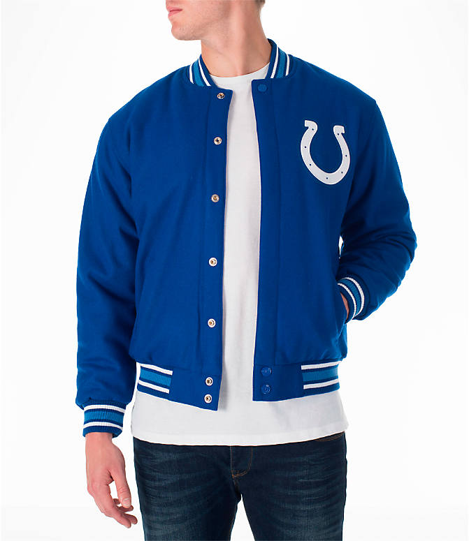 Front view of Men's JH Design Indianapolis Colts NFL Reversible Wool Jacket in Royal