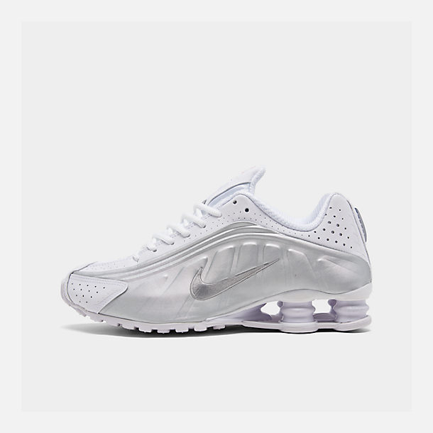 buy online cbbb3 f2074 Right view of Men s Nike Shox R4 Running Shoes in White White Metallic  Silver