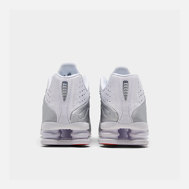 sneakers for cheap eb483 e44bf Left view of Men s Nike Shox R4 Running Shoes in White White Metallic Silver