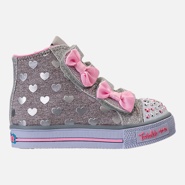Right view of Girls' Toddler Skechers Twinkle Toes: Shuffles - Doodle Days Light-Up Casual Shoes in Silver/Pink