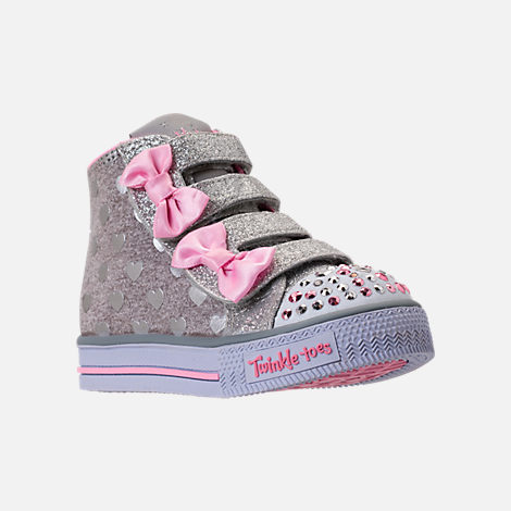 Three Quarter view of Girls' Toddler Skechers Twinkle Toes: Shuffles - Doodle Days Light-Up Casual Shoes in Silver/Pink