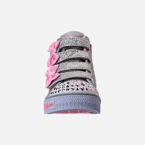 Front view of Girls' Toddler Skechers Twinkle Toes: Shuffles - Doodle Days Light-Up Casual Shoes in Silver/Pink