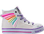 Girls' Preschool Skechers Twinkle Toes: Shuffles - Wander Wings High Top Light-Up Casual Shoes