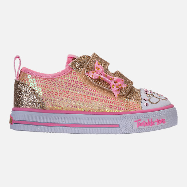 Right view of Girls' Toddler Skechers Twinkle Toes: Shuffles Itsy Bitsy Light-Up Casual Sneakers in Pink Sequin