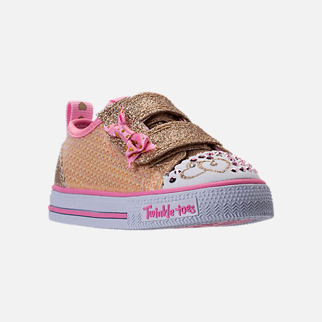 Three Quarter view of Girls' Toddler Skechers Twinkle Toes: Shuffles Itsy Bitsy Light-Up Casual Sneakers in Pink Sequin