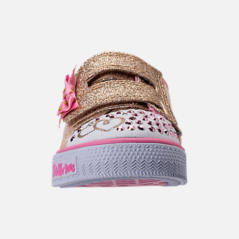 Front view of Girls' Toddler Skechers Twinkle Toes: Shuffles Itsy Bitsy Light-Up Casual Sneakers in Pink Sequin