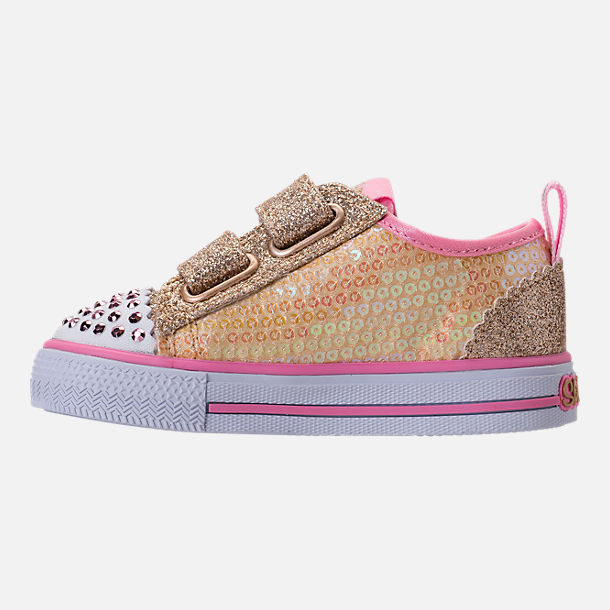 Left view of Girls' Toddler Skechers Twinkle Toes: Shuffles Itsy Bitsy Light-Up Casual Sneakers in Pink Sequin