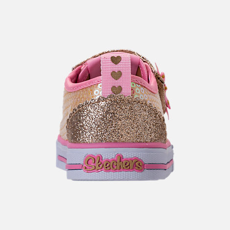 Back view of Girls' Toddler Skechers Twinkle Toes: Shuffles Itsy Bitsy Light-Up Casual Sneakers in Pink Sequin