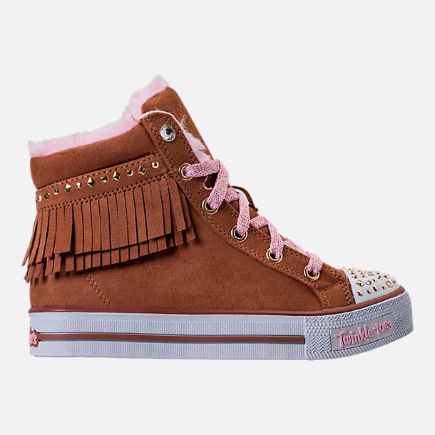 Right view of Girls' Preschool Skechers Twinkle Toes: Shuffles - Fringe Fabulous Casual Shoes in Chestnut