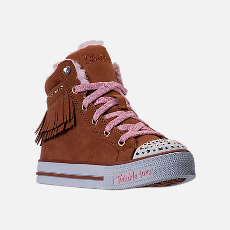 Three Quarter view of Girls' Preschool Skechers Twinkle Toes: Shuffles - Fringe Fabulous Casual Shoes in Chestnut