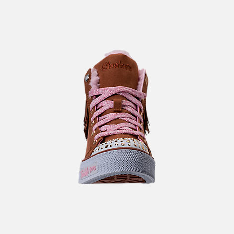 Front view of Girls' Preschool Skechers Twinkle Toes: Shuffles - Fringe Fabulous Casual Shoes in Chestnut