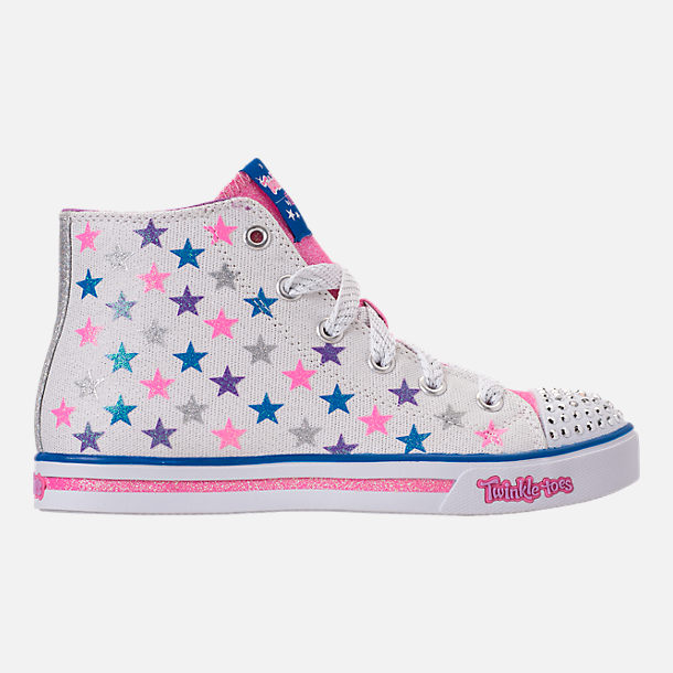 Right view of Girls' Preschool Skechers Twinkle Toes: Sparkle Glitz - Shiny Starz Light-Up Casual Shoes in White/Stars