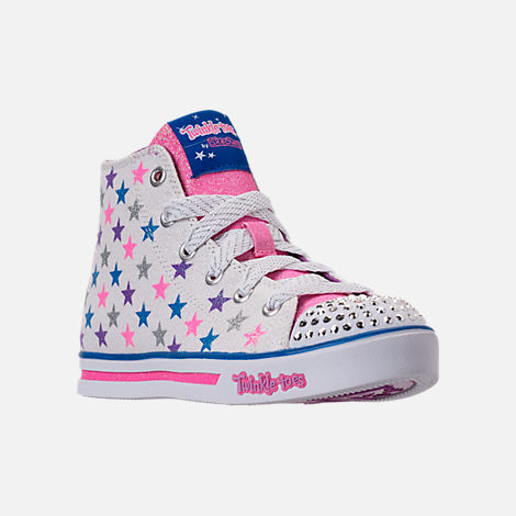 Three Quarter view of Girls' Preschool Skechers Twinkle Toes: Sparkle Glitz - Shiny Starz Light-Up Casual Shoes in White/Stars