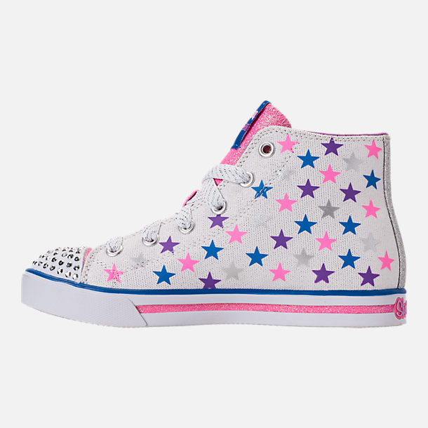 Left view of Girls' Preschool Skechers Twinkle Toes: Sparkle Glitz - Shiny Starz Light-Up Casual Shoes in White/Stars