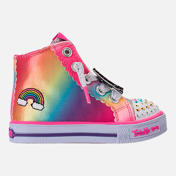 Right view of Girls' Toddler Skechers Twinkle Toes: Shuffles - Patch Party Casual Shoes in Rainbow Glitter