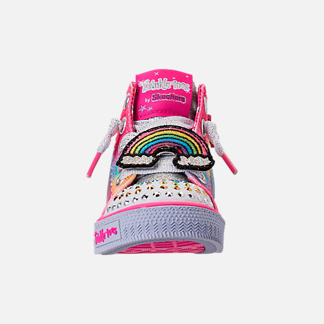 Front view of Girls' Toddler Skechers Twinkle Toes: Shuffles - Patch Party Casual Shoes in Rainbow Glitter