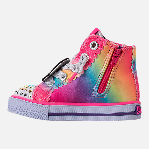Left view of Girls' Toddler Skechers Twinkle Toes: Shuffles - Patch Party Casual Shoes in Rainbow Glitter