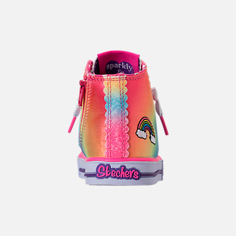 Back view of Girls' Toddler Skechers Twinkle Toes: Shuffles - Patch Party Casual Shoes in Rainbow Glitter