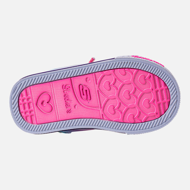 Bottom view of Girls' Toddler Skechers Twinkle Toes: Shuffles - Patch Party Casual Shoes in Rainbow Glitter
