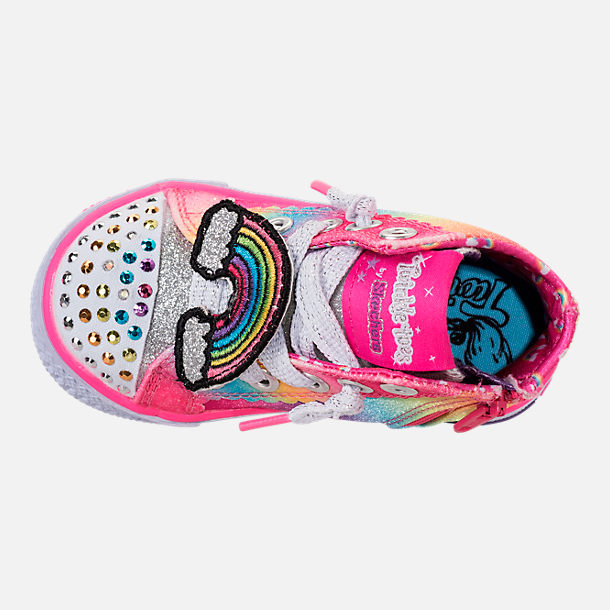 Top view of Girls' Toddler Skechers Twinkle Toes: Shuffles - Patch Party Casual Shoes in Rainbow Glitter