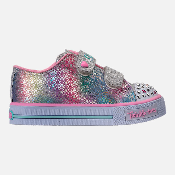 Right view of Girls' Toddler Skechers Twinkle Toes: Shuffles - Ms. Mermaid Light-Up Casual Shoes in White/Rainbow/Ombre