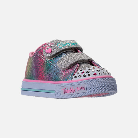 Three Quarter view of Girls' Toddler Skechers Twinkle Toes: Shuffles - Ms. Mermaid Light-Up Casual Shoes in White/Rainbow/Ombre