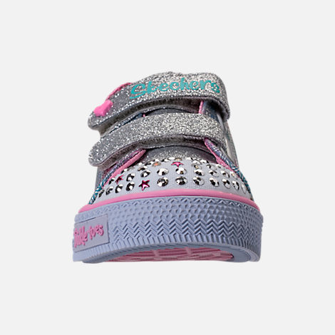 Front view of Girls' Toddler Skechers Twinkle Toes: Shuffles - Ms. Mermaid Light-Up Casual Shoes in White/Rainbow/Ombre