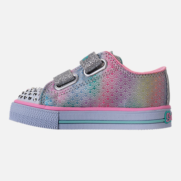 Left view of Girls' Toddler Skechers Twinkle Toes: Shuffles - Ms. Mermaid Light-Up Casual Shoes in White/Rainbow/Ombre