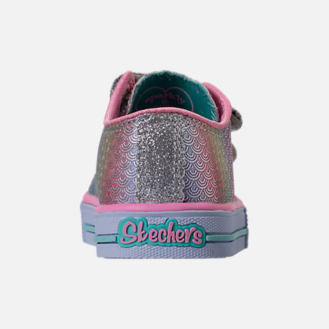 Back view of Girls' Toddler Skechers Twinkle Toes: Shuffles - Ms. Mermaid Light-Up Casual Shoes in White/Rainbow/Ombre