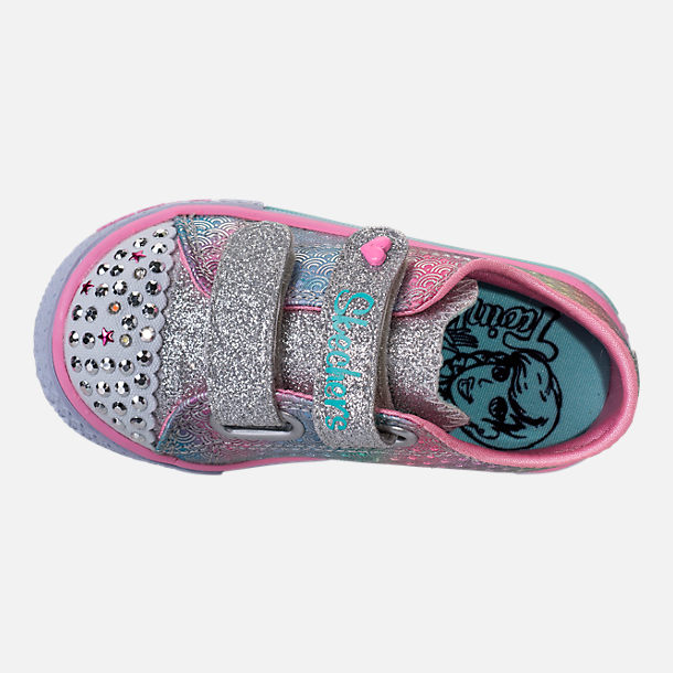 Top view of Girls' Toddler Skechers Twinkle Toes: Shuffles - Ms. Mermaid Light-Up Casual Shoes in White/Rainbow/Ombre