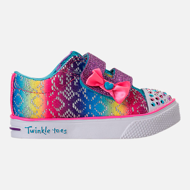Right view of Girls' Preschool Skechers Twinkle Toes: Twinkle Breeze 2.0 - Colorful Crochets Light-Up Casual Shoes in Multi