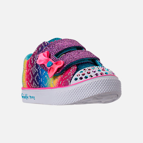 Three Quarter view of Girls' Preschool Skechers Twinkle Toes: Twinkle Breeze 2.0 - Colorful Crochets Light-Up Casual Shoes in Multi
