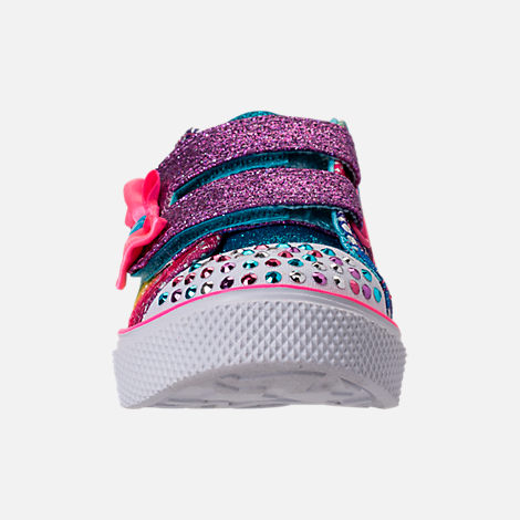 Front view of Girls' Preschool Skechers Twinkle Toes: Twinkle Breeze 2.0 - Colorful Crochets Light-Up Casual Shoes in Multi