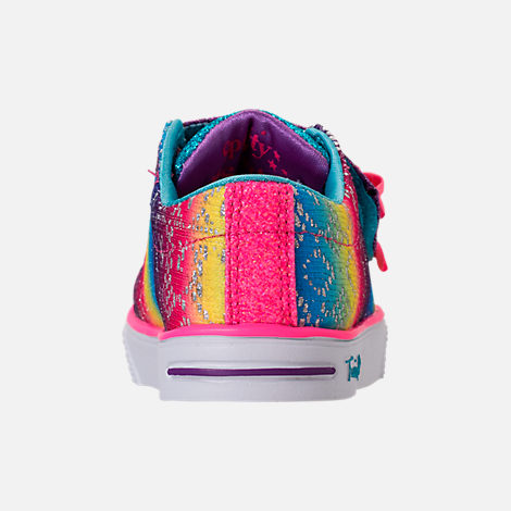 Back view of Girls' Preschool Skechers Twinkle Toes: Twinkle Breeze 2.0 - Colorful Crochets Light-Up Casual Shoes in Multi