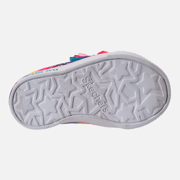 Bottom view of Girls' Preschool Skechers Twinkle Toes: Twinkle Breeze 2.0 - Colorful Crochets Light-Up Casual Shoes in Multi