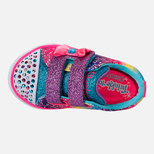 Top view of Girls' Preschool Skechers Twinkle Toes: Twinkle Breeze 2.0 - Colorful Crochets Light-Up Casual Shoes in Multi
