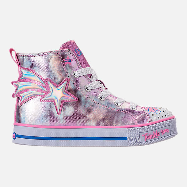 Right view of Girls' Preschool Skechers Twinkle Toes: Twinkle Lite Light-Up Casual Shoes in Pink/Silver Metallic
