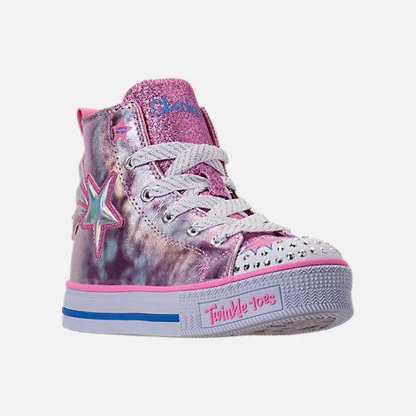 Three Quarter view of Girls' Preschool Skechers Twinkle Toes: Twinkle Lite Light-Up Casual Shoes in Pink/Silver Metallic