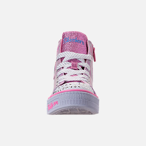 Front view of Girls' Preschool Skechers Twinkle Toes: Twinkle Lite Light-Up Casual Shoes in Pink/Silver Metallic